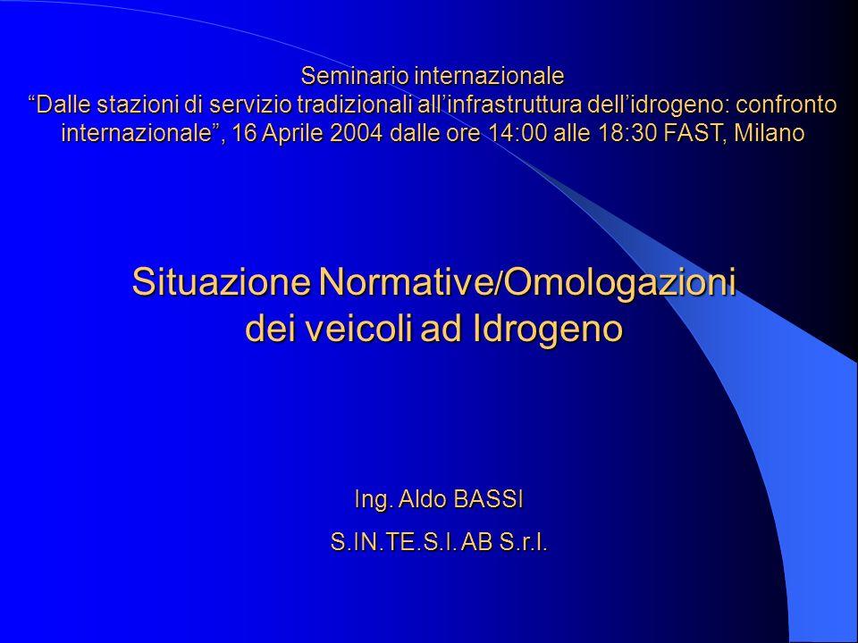 Situazione Normative/Omologazioni dei veicoli ad Idrogeno