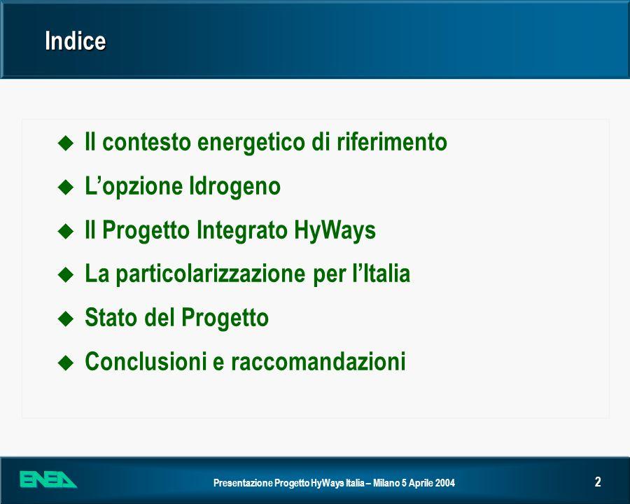 Indice Il contesto energetico di riferimento. L'opzione Idrogeno. Il Progetto Integrato HyWays. La particolarizzazione per I'Italia.