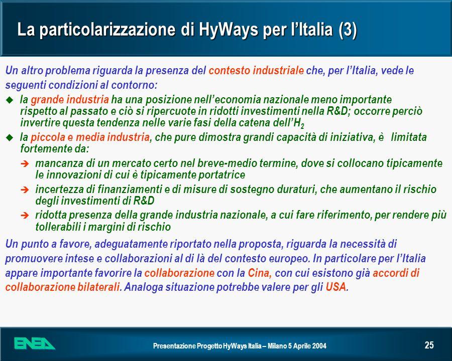La particolarizzazione di HyWays per I'Italia (3)