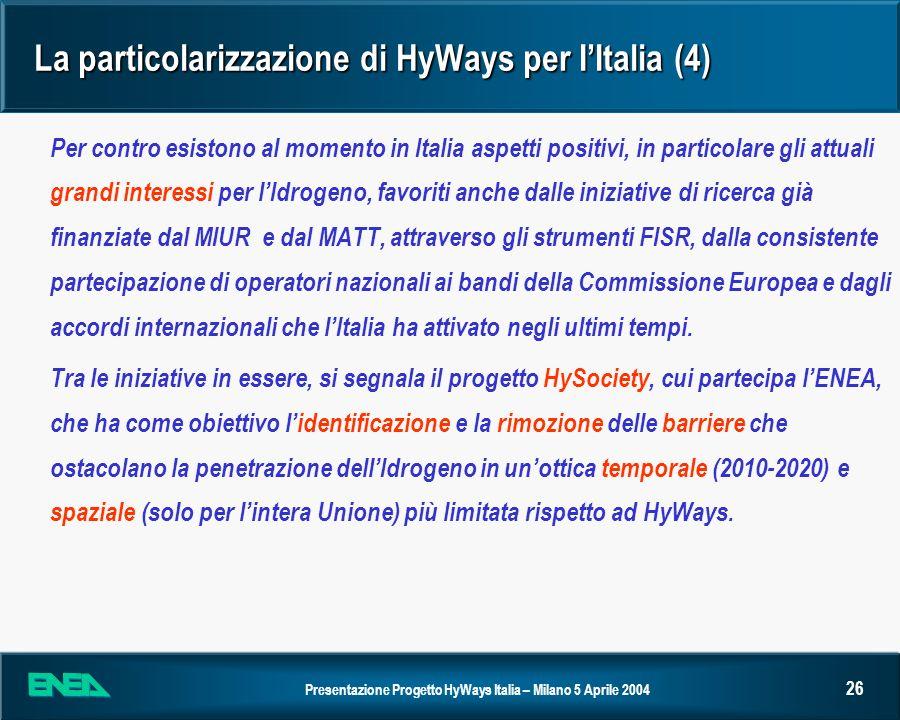 La particolarizzazione di HyWays per I'Italia (4)
