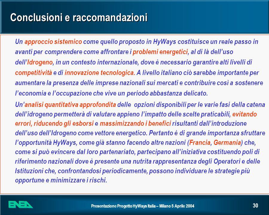 Conclusioni e raccomandazioni