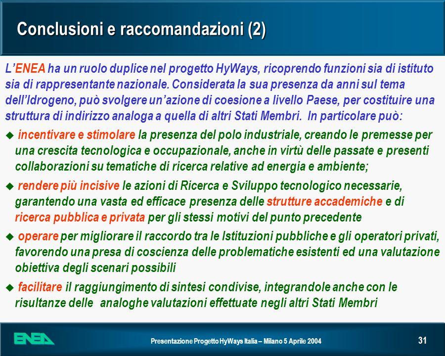 Conclusioni e raccomandazioni (2)