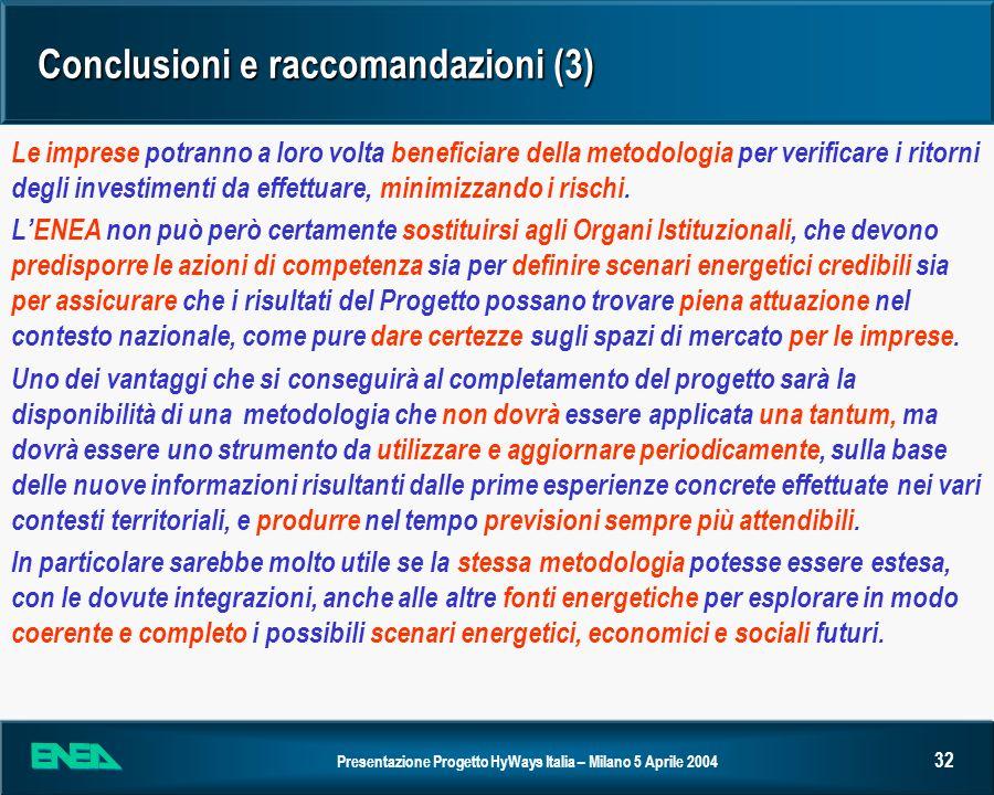 Conclusioni e raccomandazioni (3)