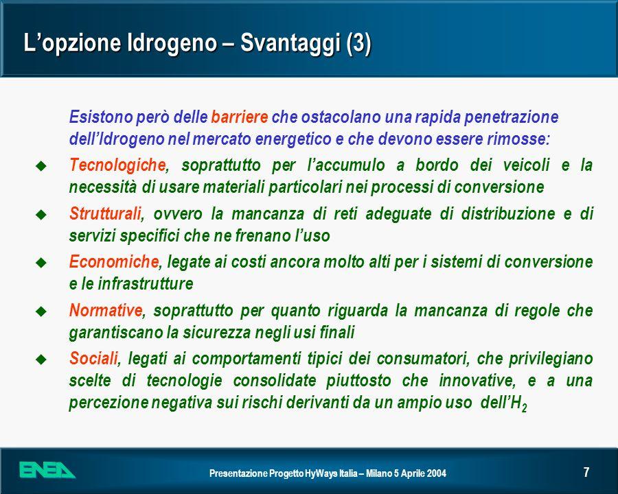 L'opzione Idrogeno – Svantaggi (3)
