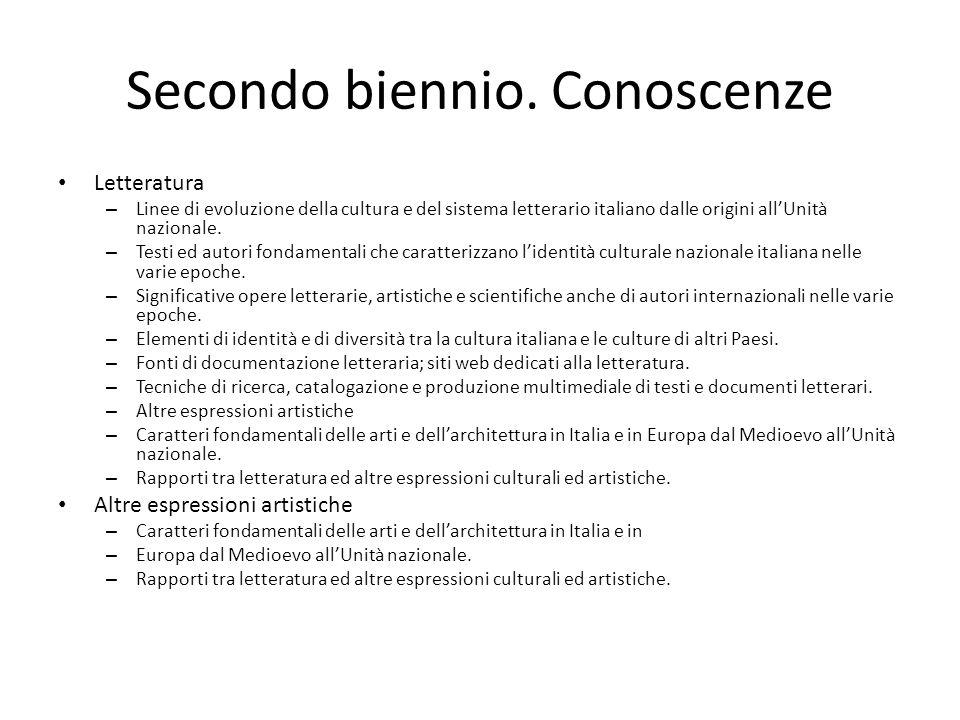 Secondo biennio. Conoscenze