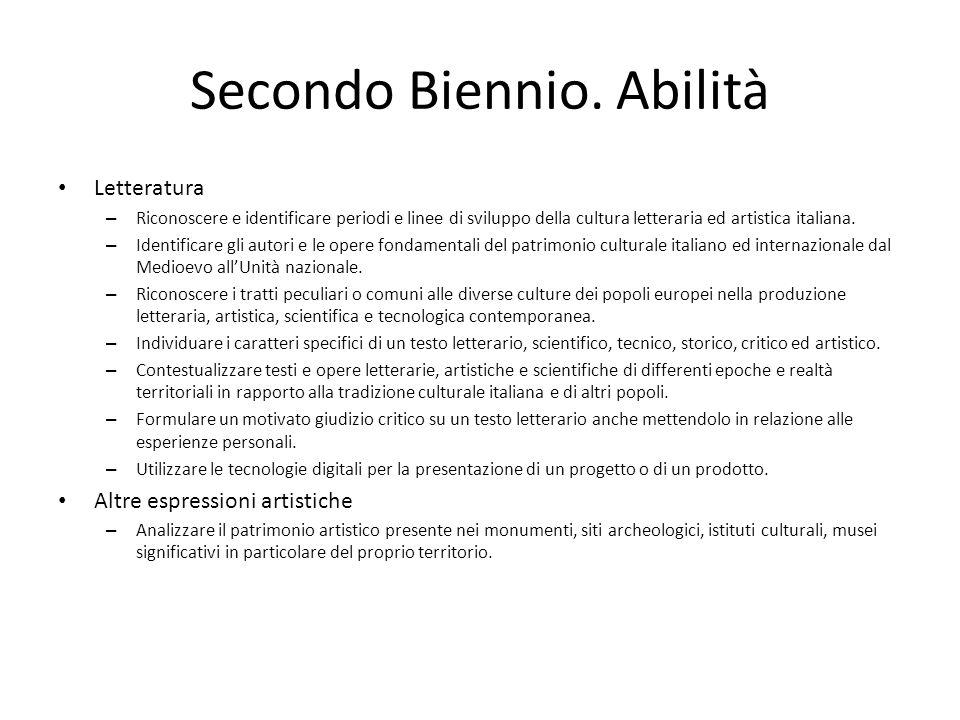 Secondo Biennio. Abilità
