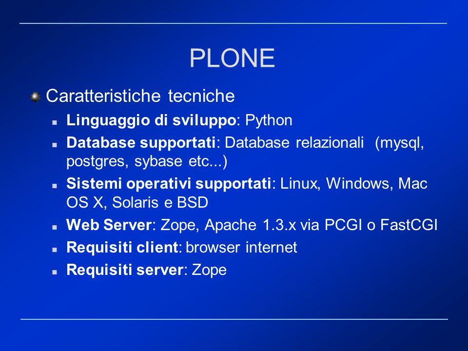 PLONE Caratteristiche tecniche Linguaggio di sviluppo: Python