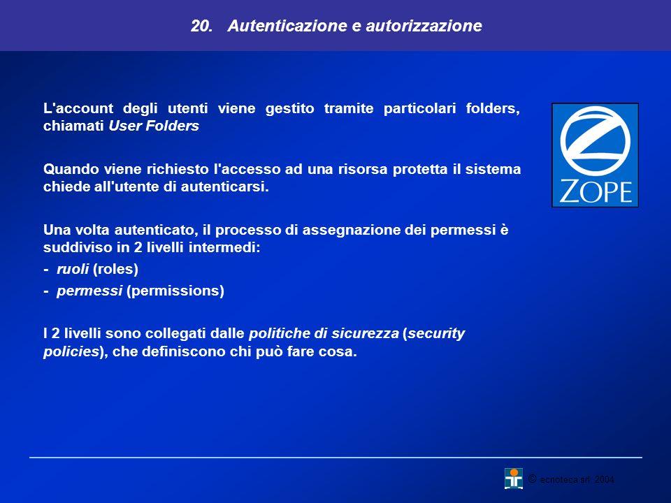 20. Autenticazione e autorizzazione