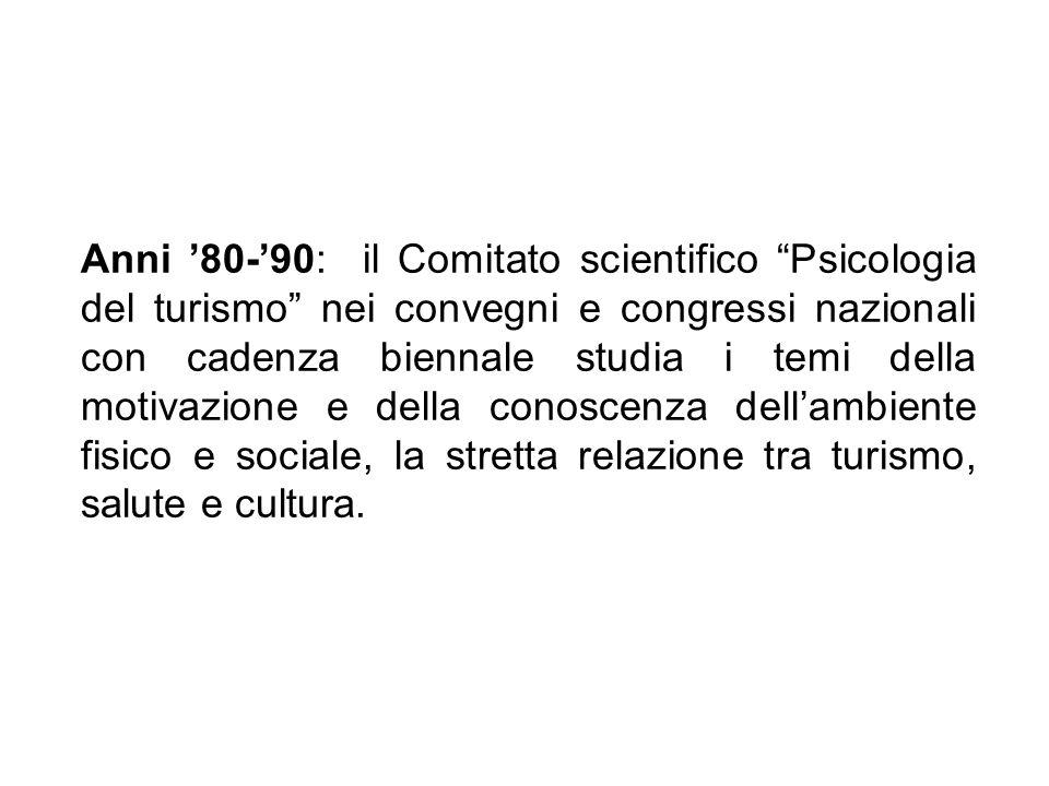Anni '80-'90: il Comitato scientifico Psicologia del turismo nei convegni e congressi nazionali con cadenza biennale studia i temi della motivazione e della conoscenza dell'ambiente fisico e sociale, la stretta relazione tra turismo, salute e cultura.