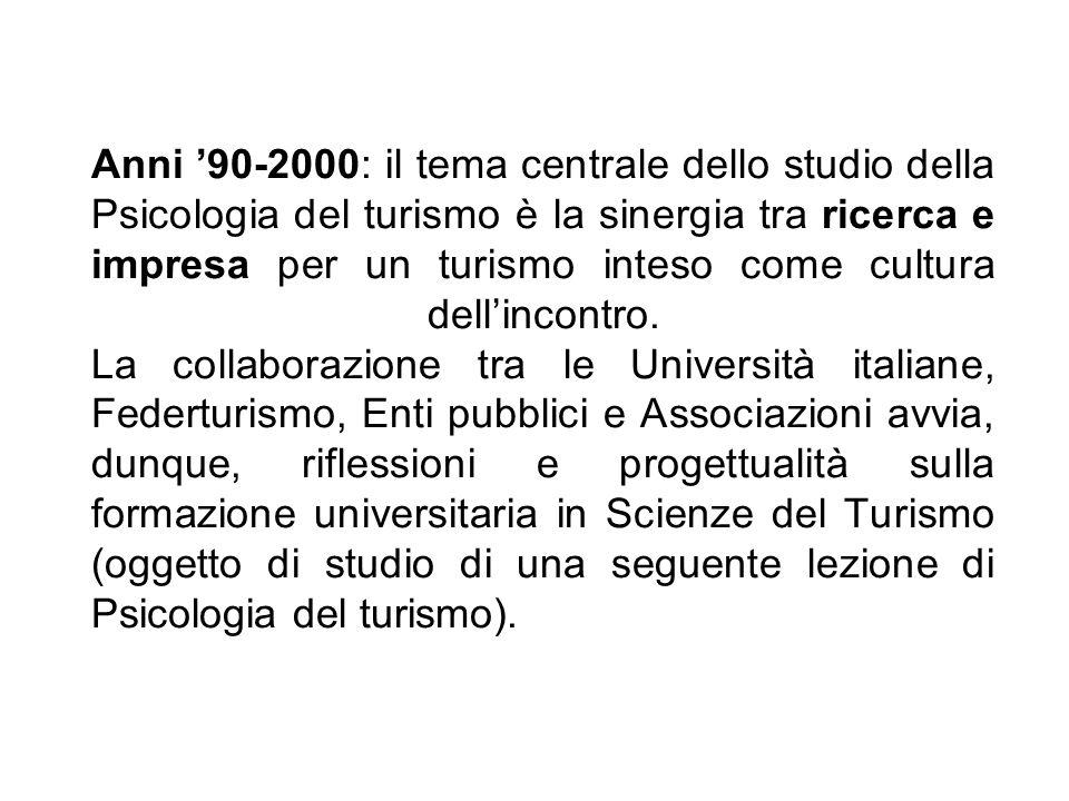 Anni '90-2000: il tema centrale dello studio della Psicologia del turismo è la sinergia tra ricerca e impresa per un turismo inteso come cultura dell'incontro.
