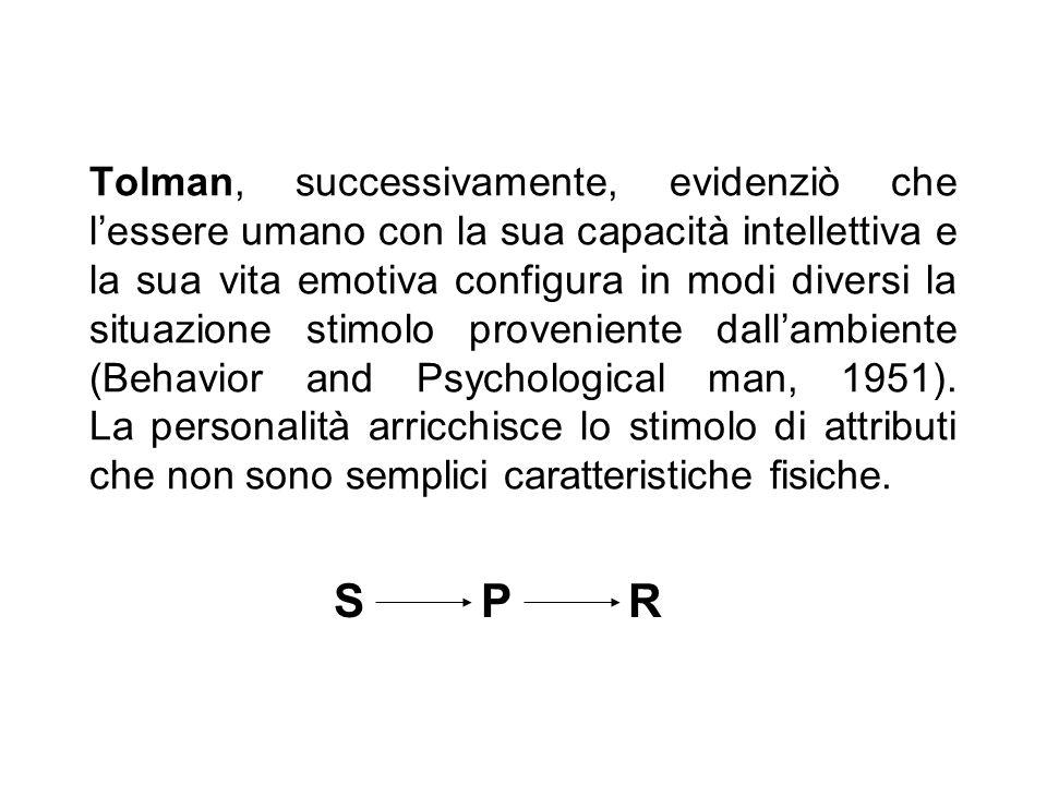 Tolman, successivamente, evidenziò che l'essere umano con la sua capacità intellettiva e la sua vita emotiva configura in modi diversi la situazione stimolo proveniente dall'ambiente (Behavior and Psychological man, 1951). La personalità arricchisce lo stimolo di attributi che non sono semplici caratteristiche fisiche.