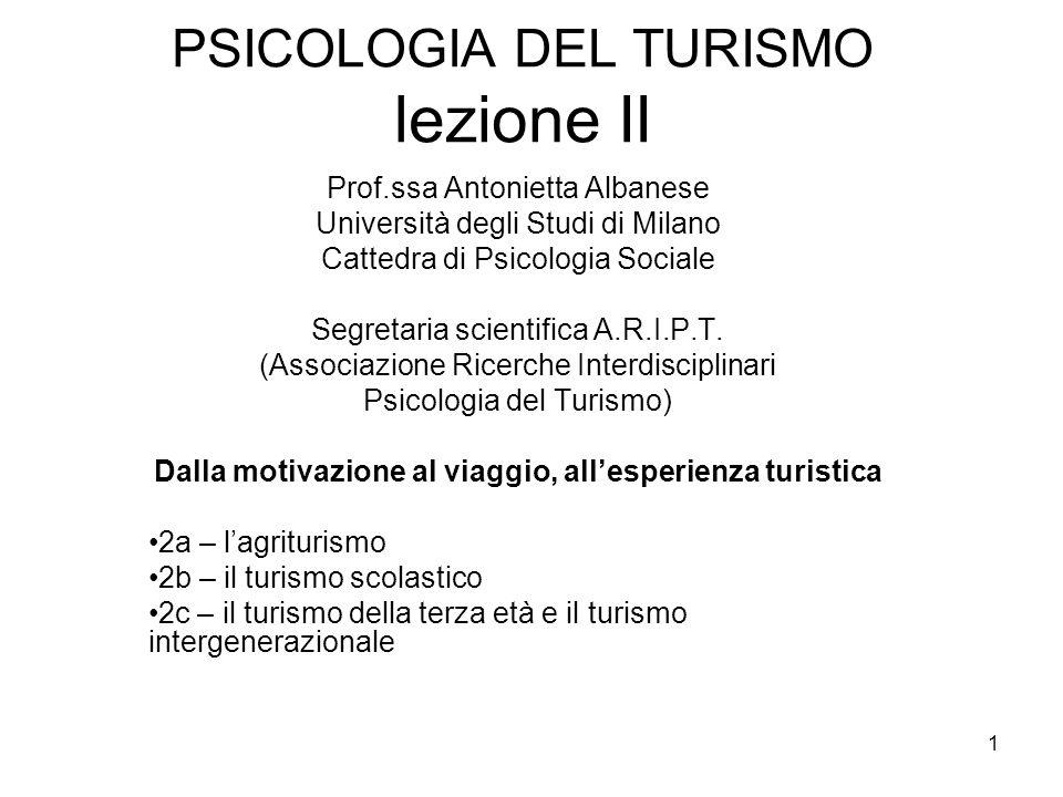 PSICOLOGIA DEL TURISMO lezione II