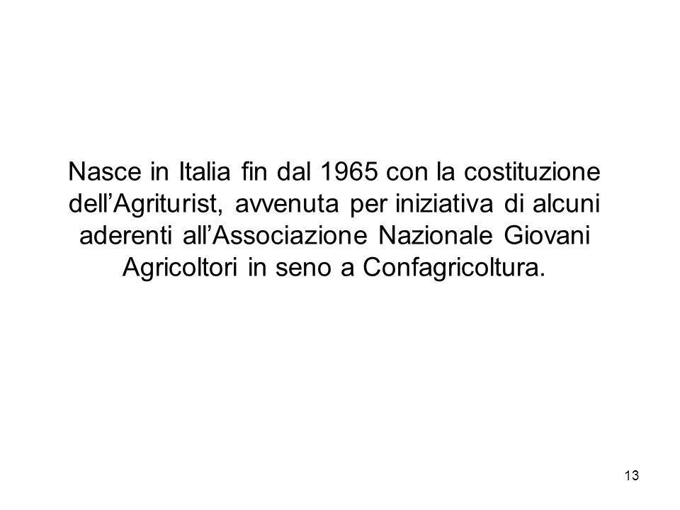 Nasce in Italia fin dal 1965 con la costituzione dell'Agriturist, avvenuta per iniziativa di alcuni aderenti all'Associazione Nazionale Giovani Agricoltori in seno a Confagricoltura.