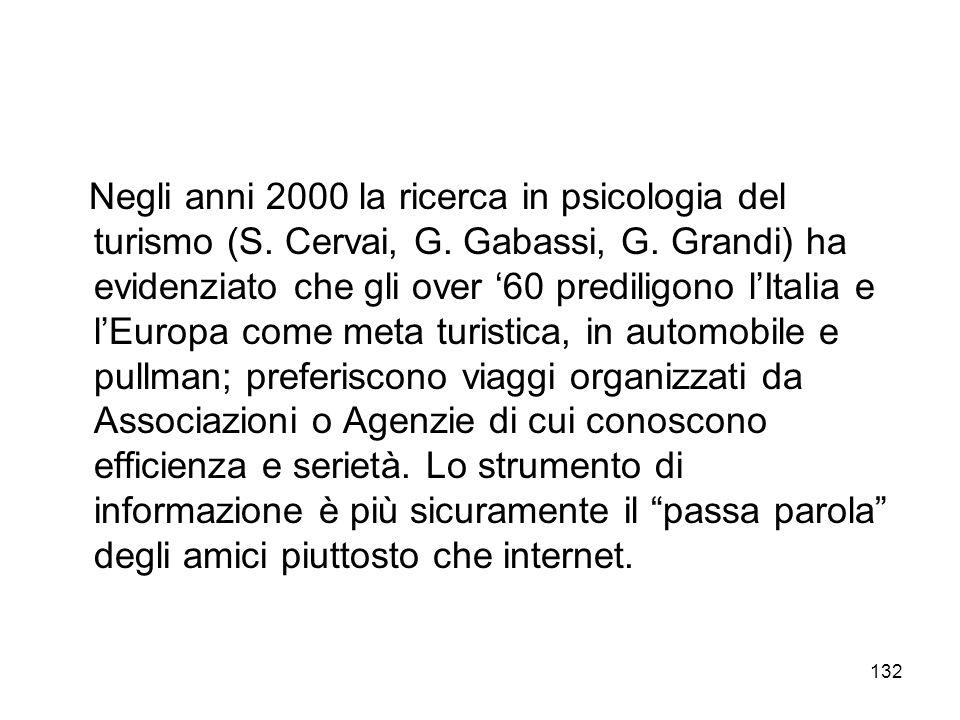 Negli anni 2000 la ricerca in psicologia del turismo (S. Cervai, G