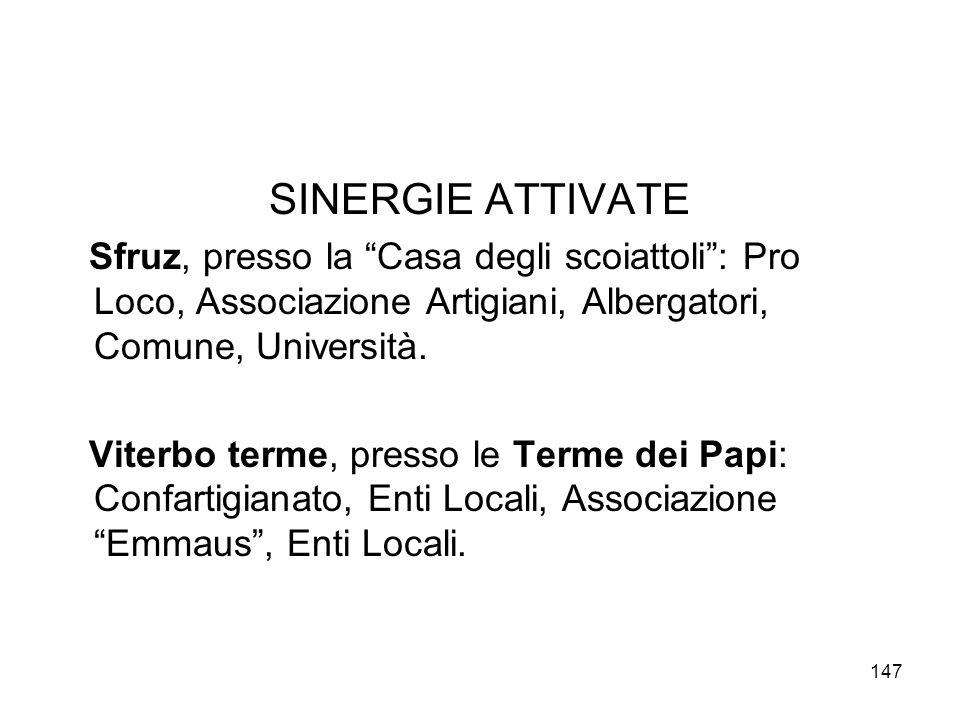 SINERGIE ATTIVATE Sfruz, presso la Casa degli scoiattoli : Pro Loco, Associazione Artigiani, Albergatori, Comune, Università.