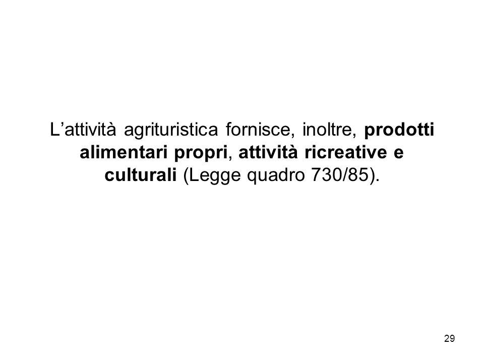L'attività agrituristica fornisce, inoltre, prodotti alimentari propri, attività ricreative e culturali (Legge quadro 730/85).