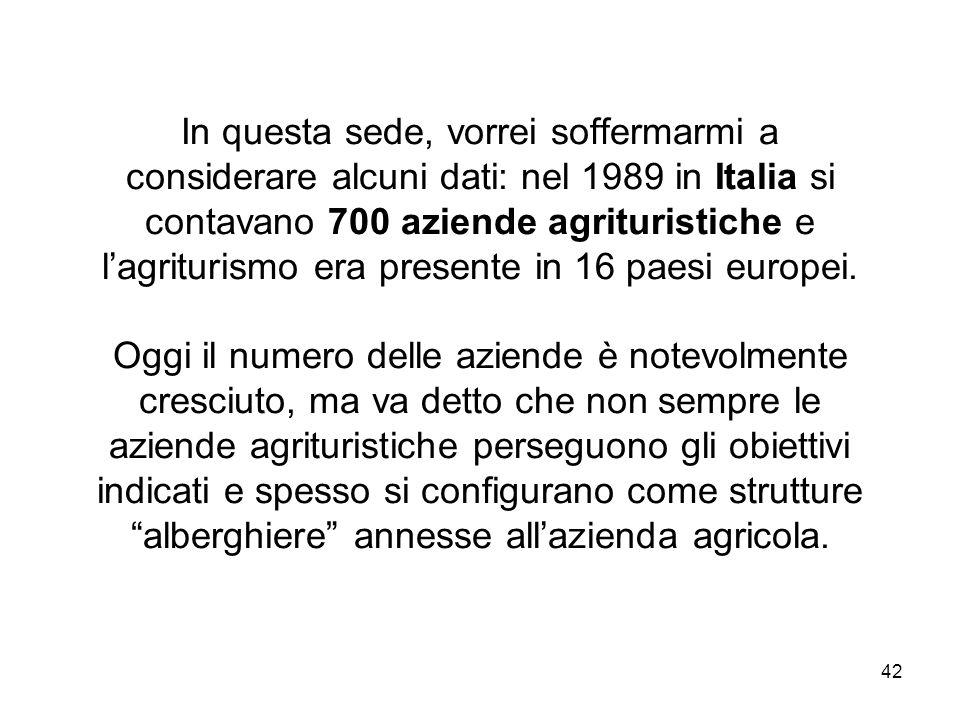 In questa sede, vorrei soffermarmi a considerare alcuni dati: nel 1989 in Italia si contavano 700 aziende agrituristiche e l'agriturismo era presente in 16 paesi europei.