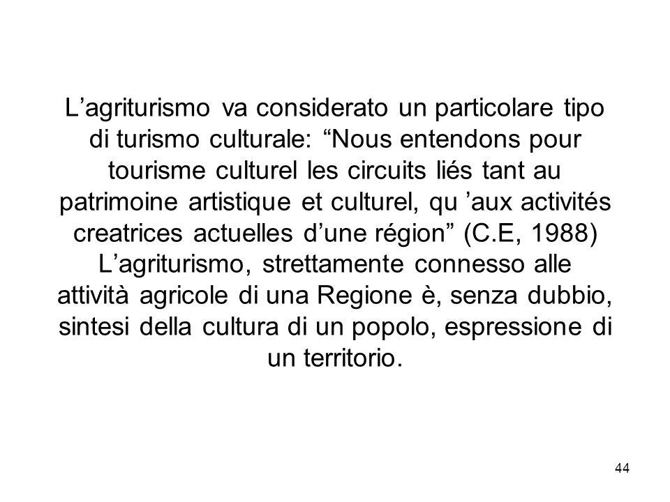 L'agriturismo va considerato un particolare tipo di turismo culturale: Nous entendons pour tourisme culturel les circuits liés tant au patrimoine artistique et culturel, qu 'aux activités creatrices actuelles d'une région (C.E, 1988) L'agriturismo, strettamente connesso alle attività agricole di una Regione è, senza dubbio, sintesi della cultura di un popolo, espressione di un territorio.