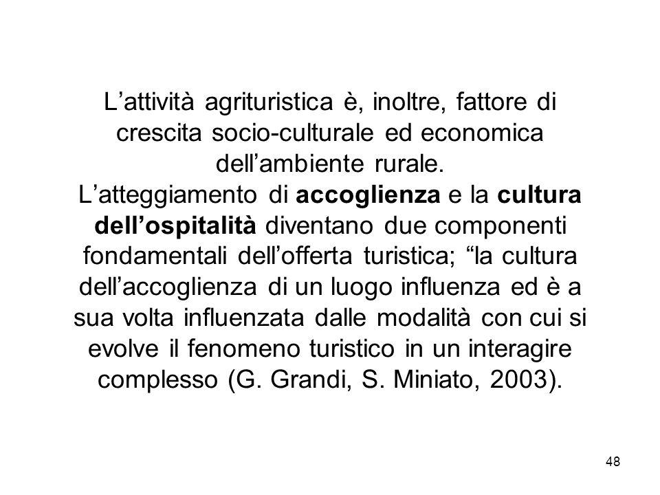L'attività agrituristica è, inoltre, fattore di crescita socio-culturale ed economica dell'ambiente rurale.