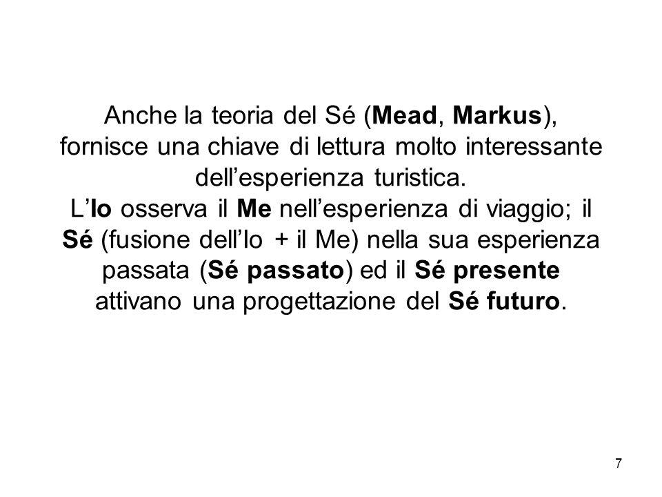 Anche la teoria del Sé (Mead, Markus), fornisce una chiave di lettura molto interessante dell'esperienza turistica.