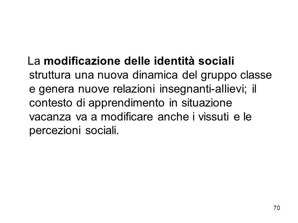 La modificazione delle identità sociali struttura una nuova dinamica del gruppo classe e genera nuove relazioni insegnanti-allievi; il contesto di apprendimento in situazione vacanza va a modificare anche i vissuti e le percezioni sociali.