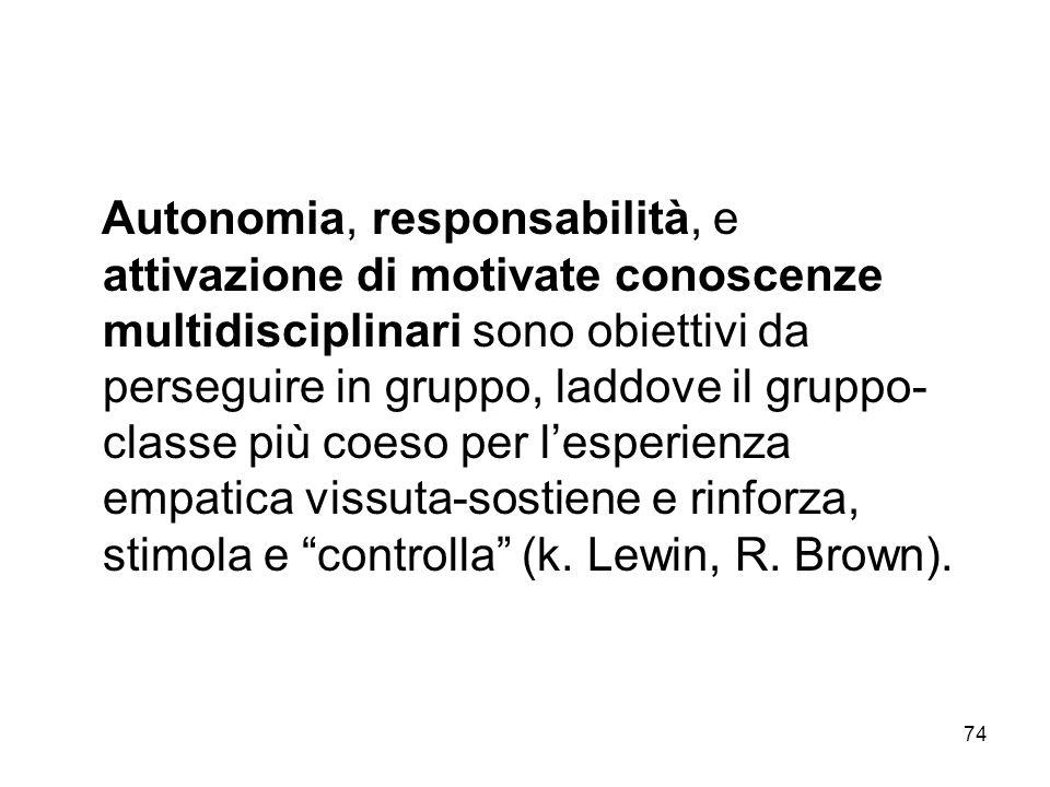 Autonomia, responsabilità, e attivazione di motivate conoscenze multidisciplinari sono obiettivi da perseguire in gruppo, laddove il gruppo-classe più coeso per l'esperienza empatica vissuta-sostiene e rinforza, stimola e controlla (k.