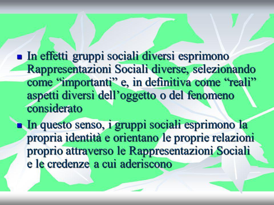 In effetti gruppi sociali diversi esprimono Rappresentazioni Sociali diverse, selezionando come importanti e, in definitiva come reali aspetti diversi dell'oggetto o del fenomeno considerato