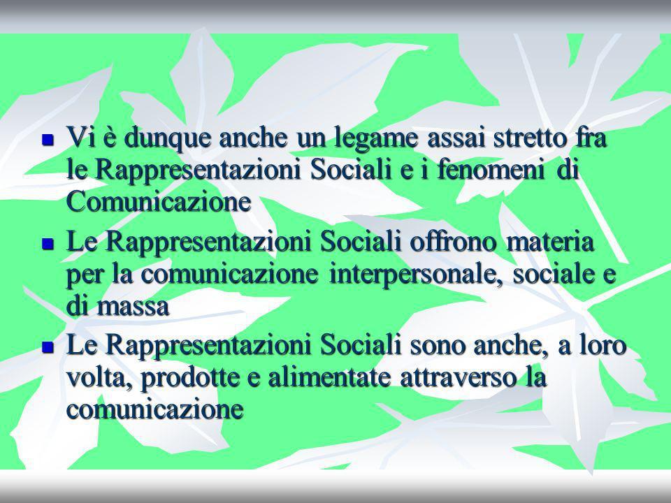 Vi è dunque anche un legame assai stretto fra le Rappresentazioni Sociali e i fenomeni di Comunicazione