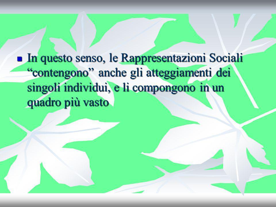 In questo senso, le Rappresentazioni Sociali contengono anche gli atteggiamenti dei singoli individui, e li compongono in un quadro più vasto