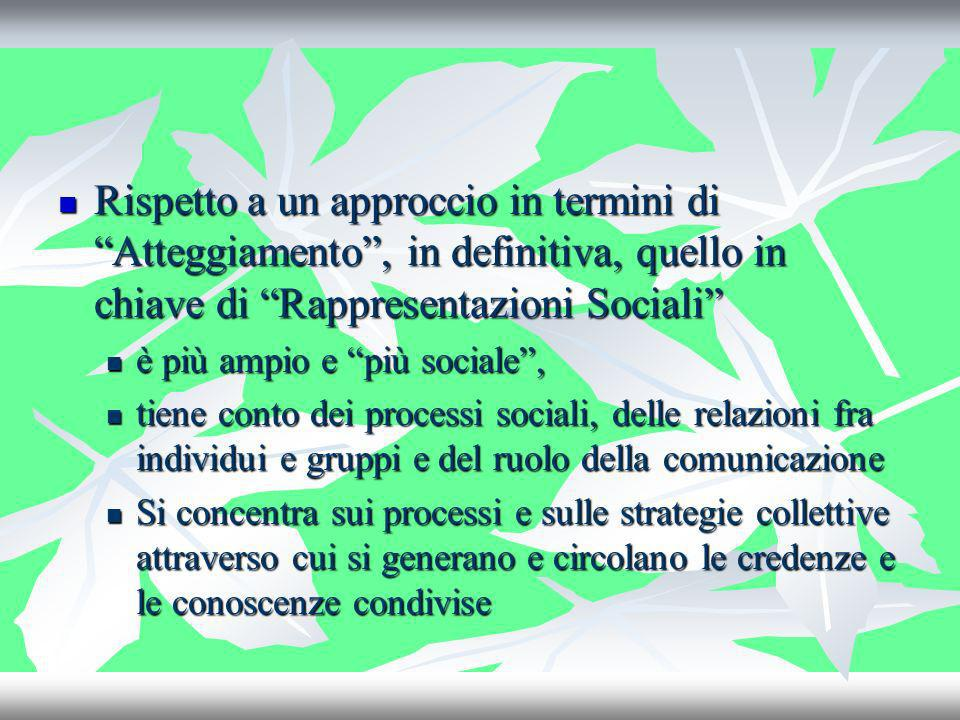 Rispetto a un approccio in termini di Atteggiamento , in definitiva, quello in chiave di Rappresentazioni Sociali