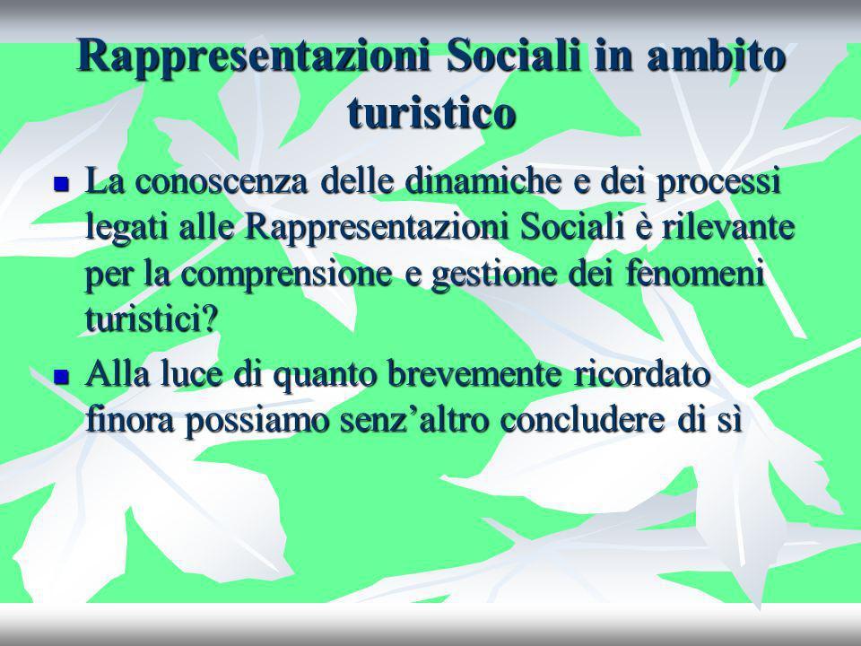 Rappresentazioni Sociali in ambito turistico