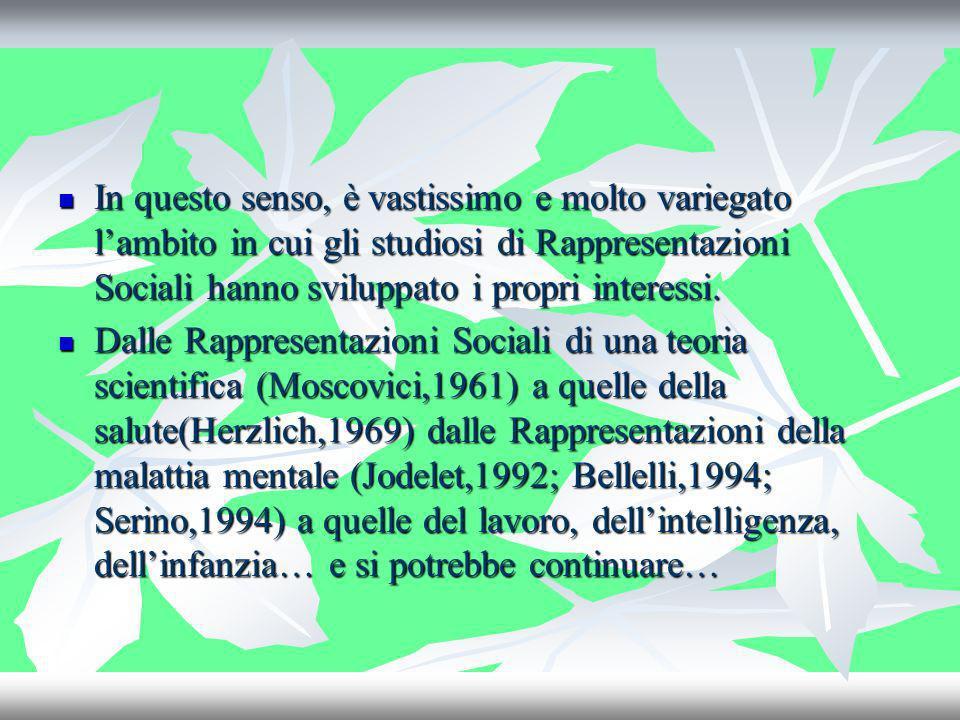 In questo senso, è vastissimo e molto variegato l'ambito in cui gli studiosi di Rappresentazioni Sociali hanno sviluppato i propri interessi.