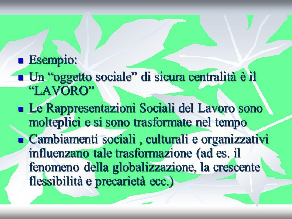 Esempio:Un oggetto sociale di sicura centralità è il LAVORO