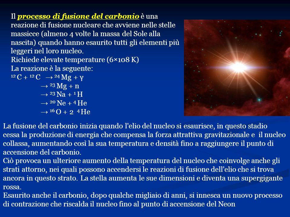 Il processo di fusione del carbonio è una reazione di fusione nucleare che avviene nelle stelle massicce (almeno 4 volte la massa del Sole alla nascita) quando hanno esaurito tutti gli elementi più leggeri nel loro nucleo.