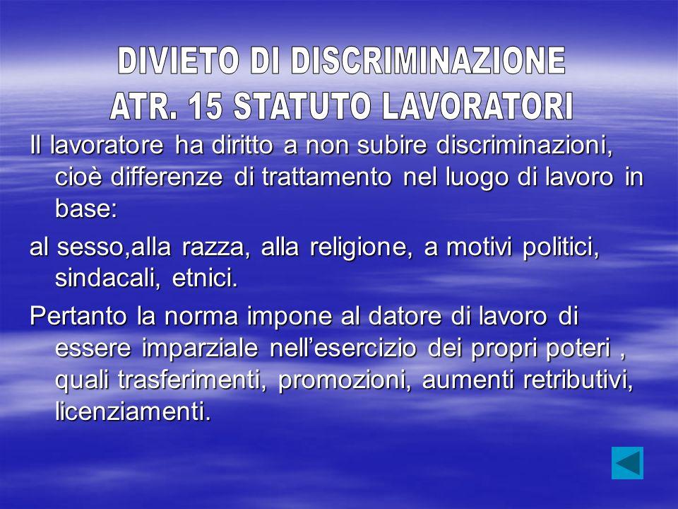 DIVIETO DI DISCRIMINAZIONE ATR. 15 STATUTO LAVORATORI