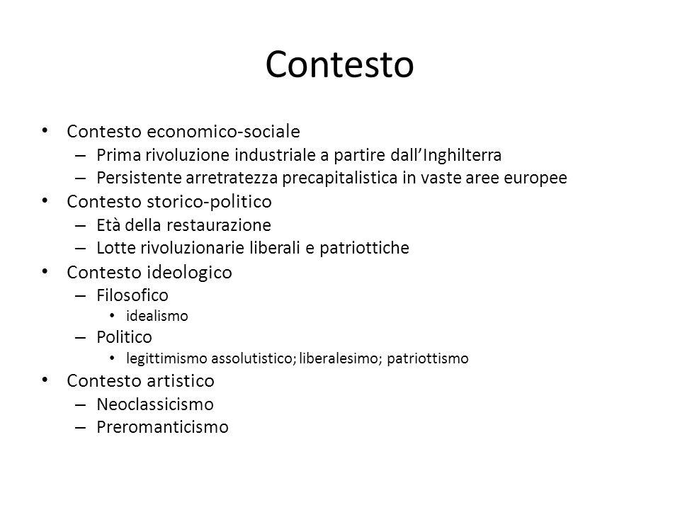 Contesto Contesto economico-sociale Contesto storico-politico