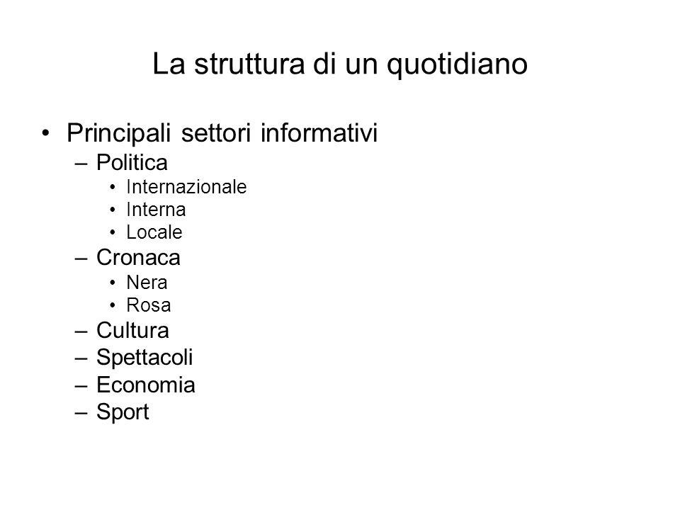 La struttura di un quotidiano
