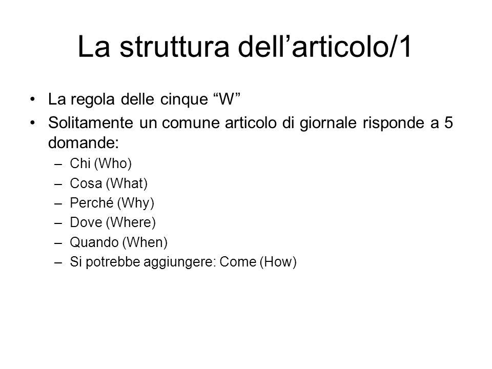 La struttura dell'articolo/1