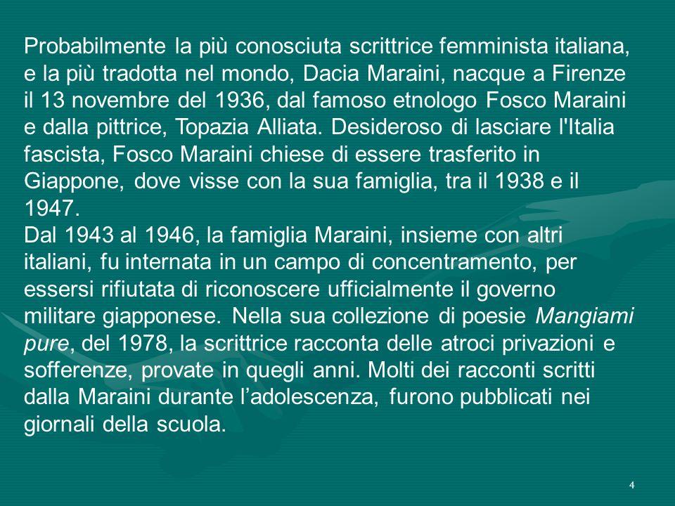 Probabilmente la più conosciuta scrittrice femminista italiana, e la più tradotta nel mondo, Dacia Maraini, nacque a Firenze il 13 novembre del 1936, dal famoso etnologo Fosco Maraini e dalla pittrice, Topazia Alliata.
