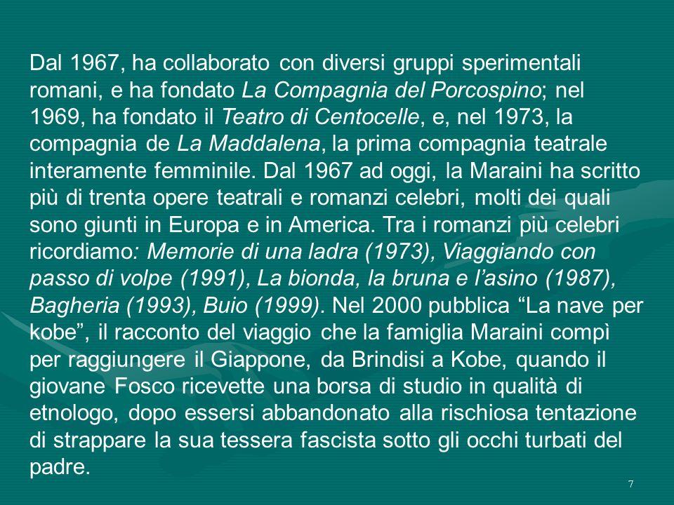 Dal 1967, ha collaborato con diversi gruppi sperimentali romani, e ha fondato La Compagnia del Porcospino; nel 1969, ha fondato il Teatro di Centocelle, e, nel 1973, la compagnia de La Maddalena, la prima compagnia teatrale interamente femminile.
