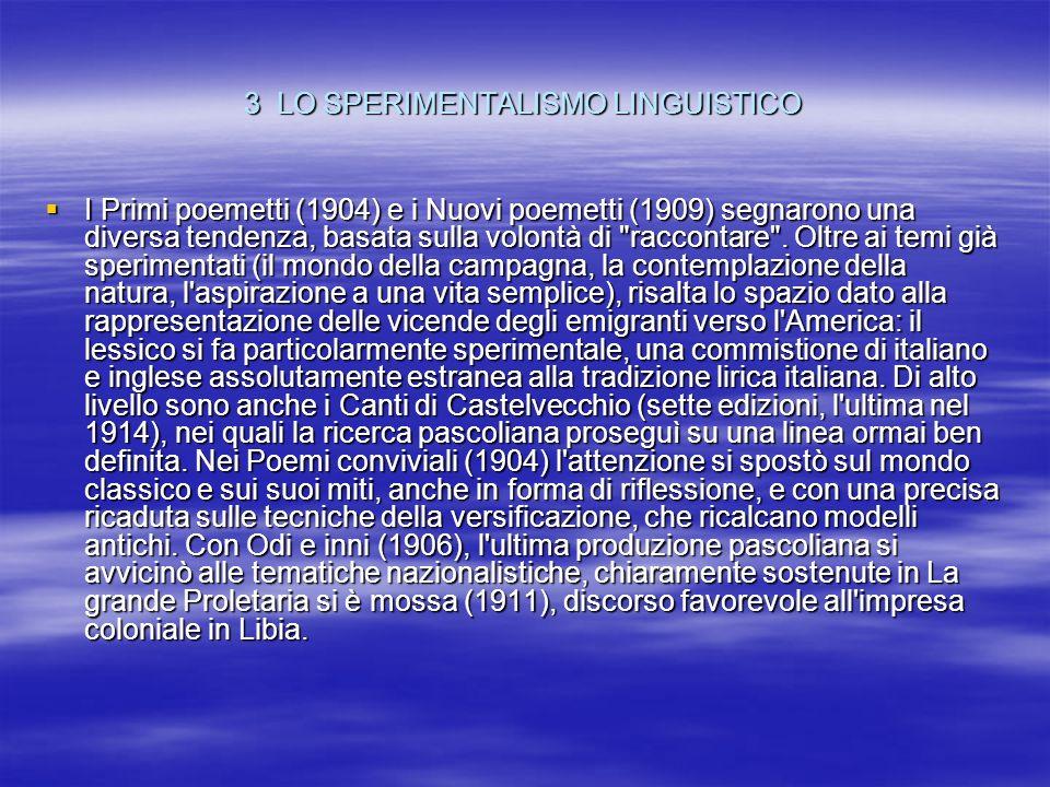 3 LO SPERIMENTALISMO LINGUISTICO
