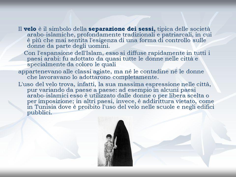 Il velo è il simbolo della separazione dei sessi, tipica delle società arabo-islamiche, profondamente tradizionali e patriarcali, in cui è più che mai sentita l esigenza di una forma di controllo sulle donne da parte degli uomini.
