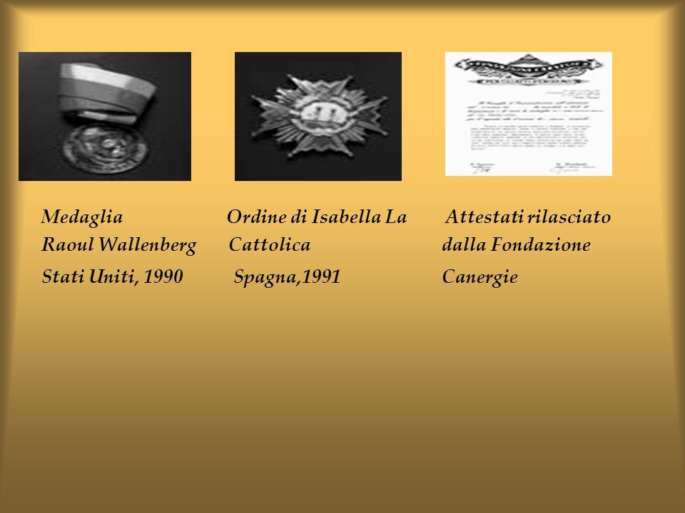 Medaglia Ordine di Isabella La Attestati rilasciato