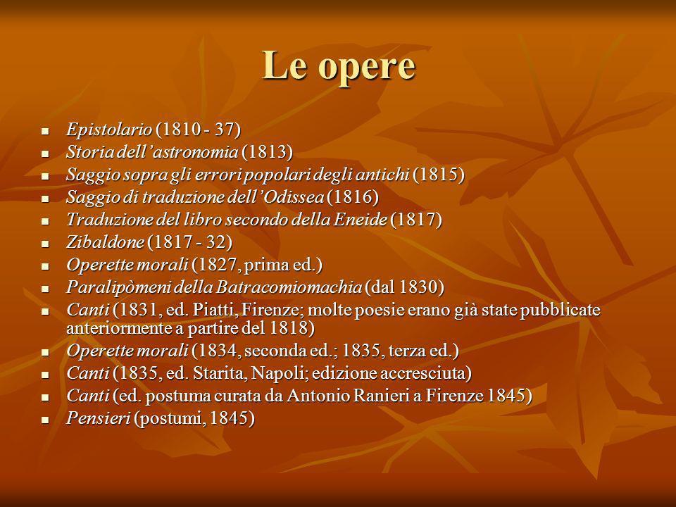 Le opere Epistolario (1810 - 37) Storia dell'astronomia (1813)