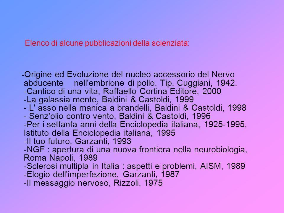 Elenco di alcune pubblicazioni della scienziata: