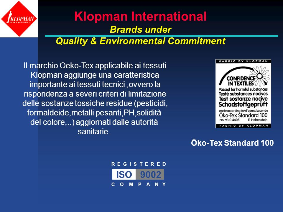 Klopman International Quality & Environmental Commitment