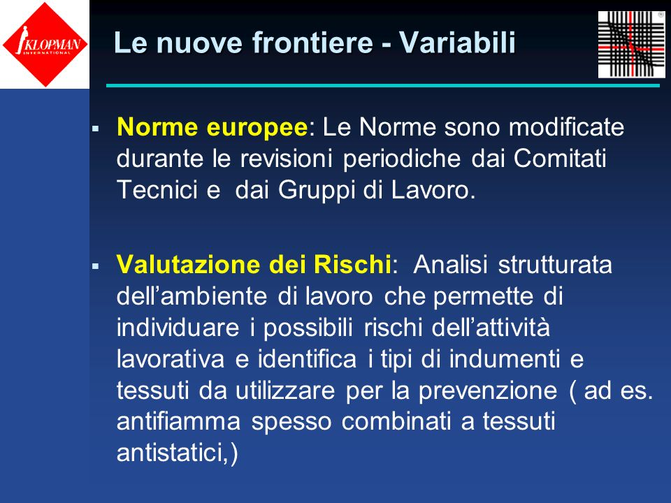 Le nuove frontiere - Variabili