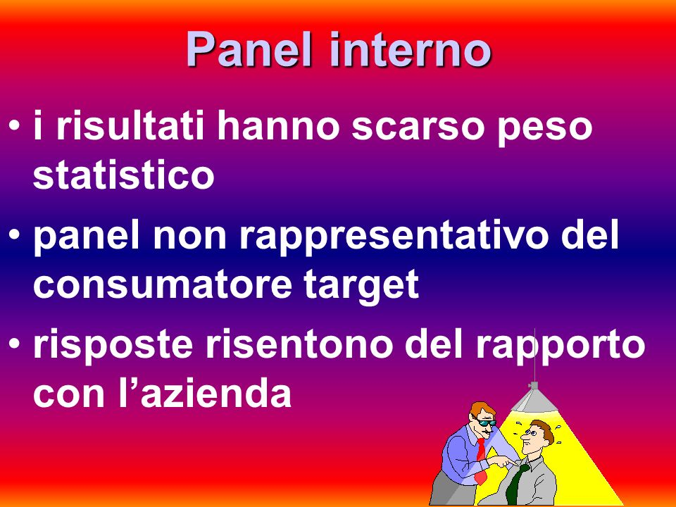 Panel interno i risultati hanno scarso peso statistico