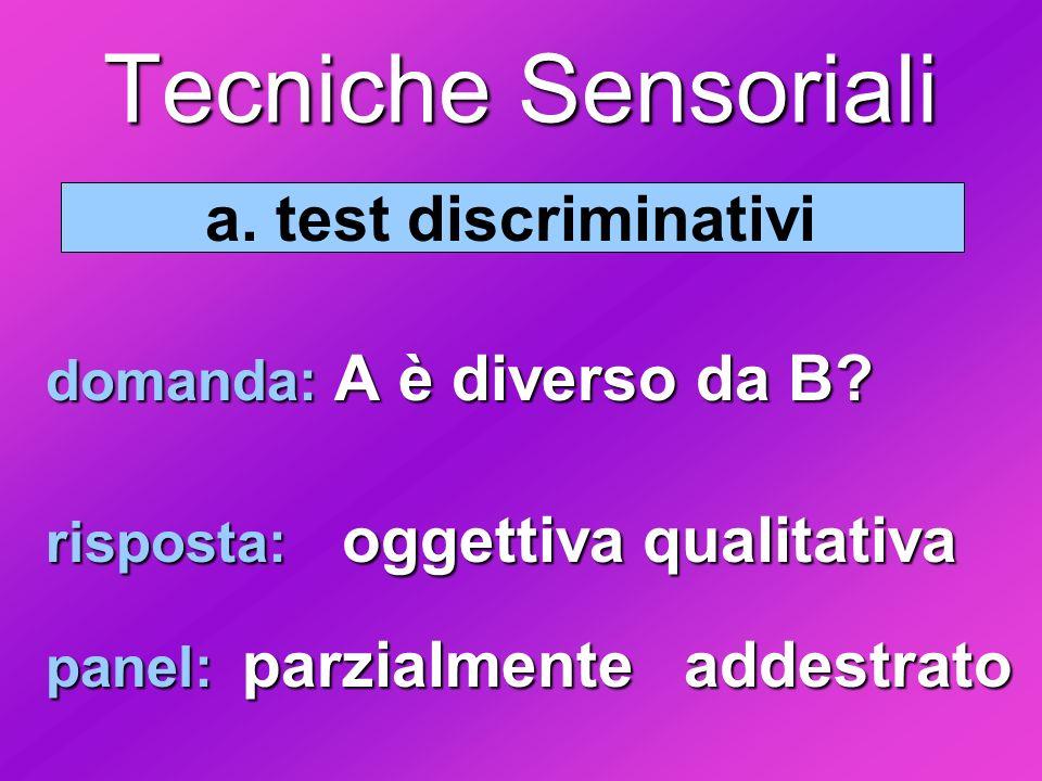 Tecniche Sensoriali a. test discriminativi domanda: A è diverso da B
