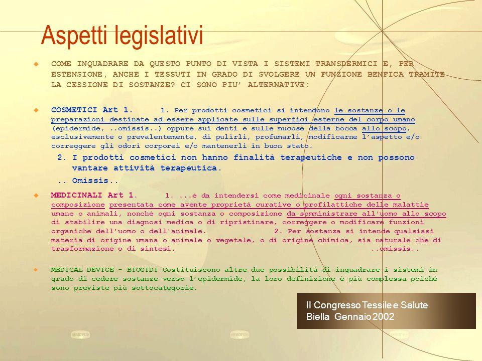 Aspetti legislativi II Congresso Tessile e Salute Biella Gennaio 2002